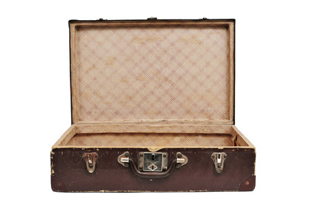 open antique suitcase on a white background photo