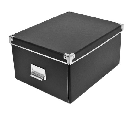 a black cardboard storage box with metal index card holder on a white background stock photo - Index Card Holder