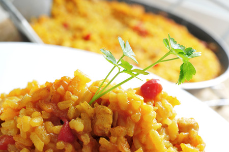 closeup of a plate with spanish chicken paella Stock Photo
