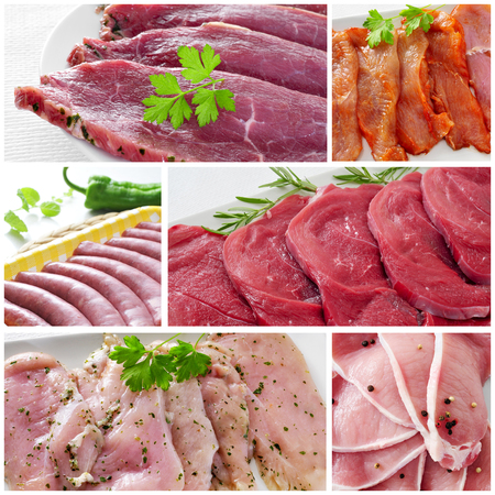 beef meat: a collage with some pictures of different raw meat and sausages