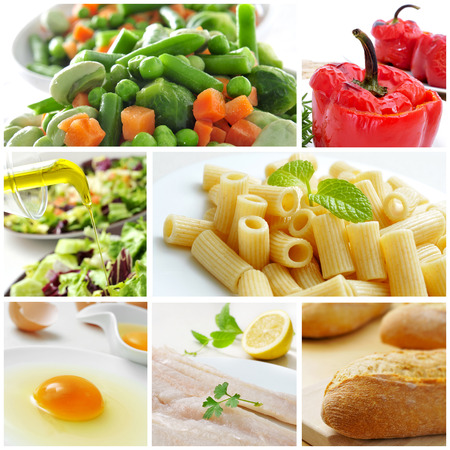 ot: a collage with different dishes ot the mediterranean diet