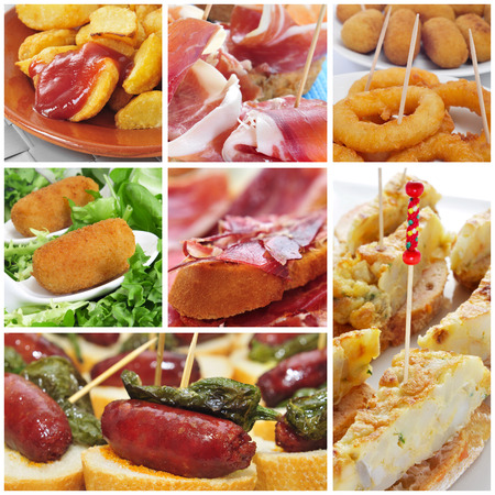 tapas españolas: un collage de diferentes tapas españolas, como las patatas bravas o tortilla española Foto de archivo
