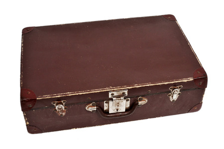emigration: an antique suitcase on a white background