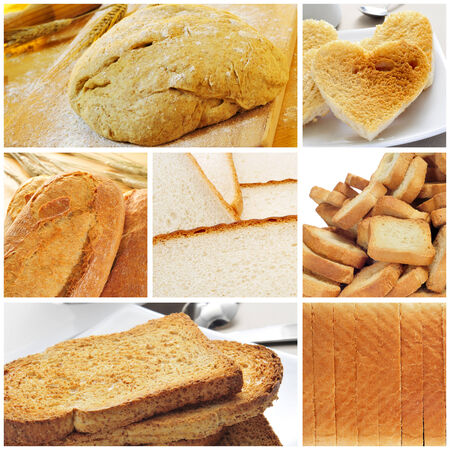 a collage of different kinds of bread photo