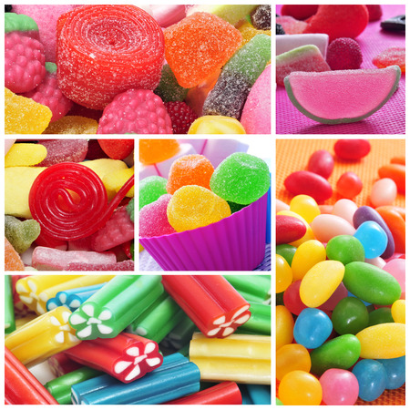sweeties: a collage of different kinds of candies