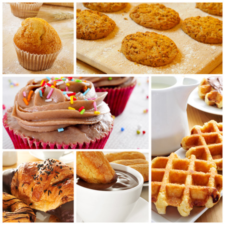a collage of different kind of biscuits and pastries Stock Photo