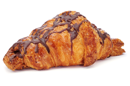 a chocolate croissant on a white background photo