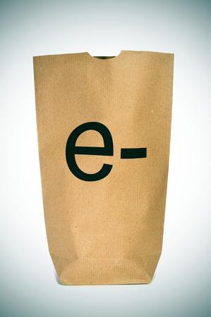 prefix: a shopping bag with the prefix e- written in it, depicting the e-shopping or e-commerce concepts