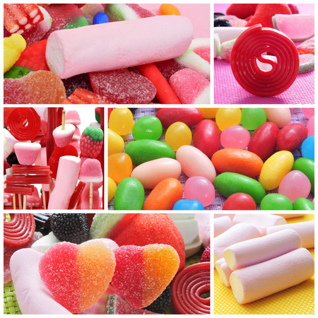 a collage of different kinds of candies photo