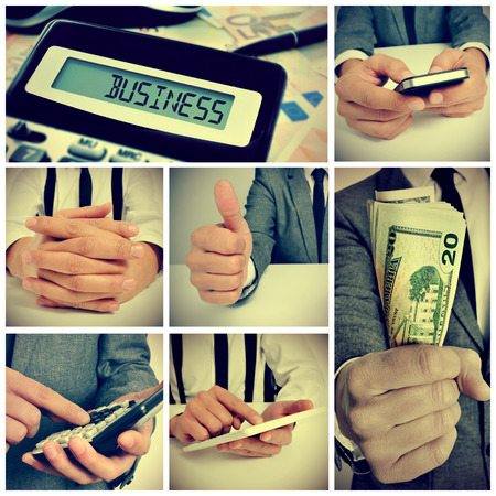 a collage of some pictures of a businessman working in his offices, using a calculator and a smartphone or showing a wad of american dollars photo