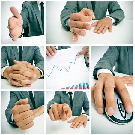 account executives: a collage of different pictures of a businessman working in his office and showing a graphic of benefits