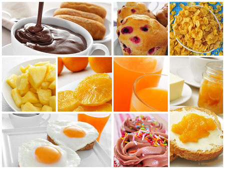 collage of different kinds of breakfast, such as toast, butter and jam, or fried eggs and orange juice photo