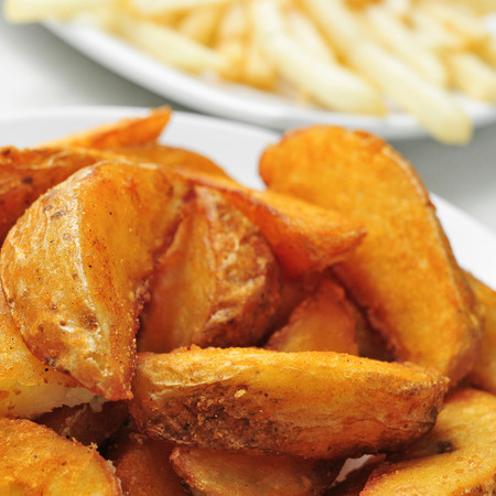 wedges: closeup of a plate with home fries