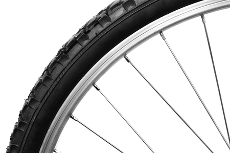 closeup of a bicycle bicycle wheel on a white  Stock Photo - 26222358