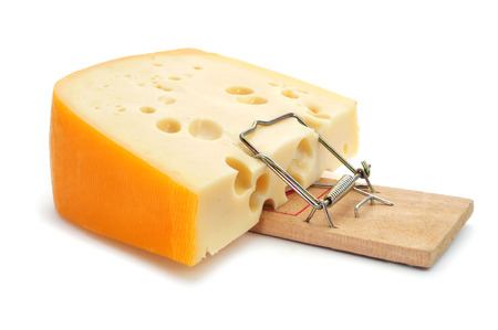 trap: mousetrap with a too large piece of cheese on a white background