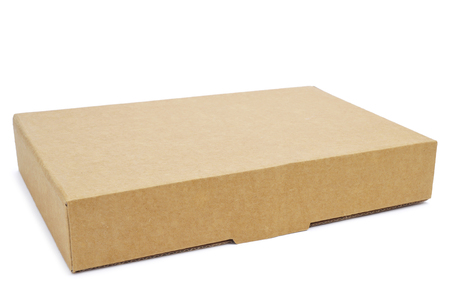 a brown cardboard box on a white background Stock Photo