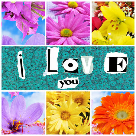 a collage of different flowers and the sentence I love you made with cut out magazine letters photo