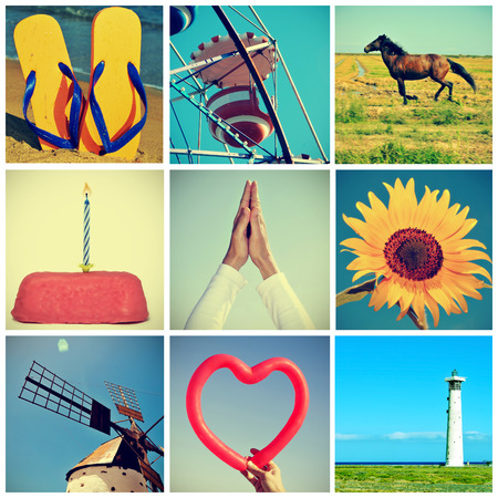 collage of different snapshots with a retro effect shot by myself photo