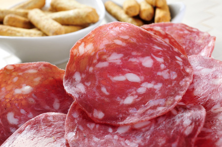 embutido: closeup of a plate with slices of salchichon, spanish cured sausage, and some picos, breadsticks in the background