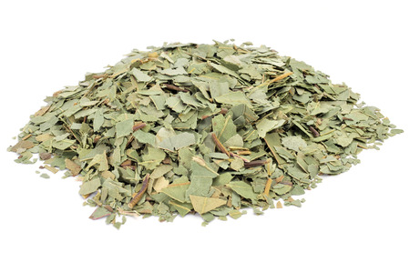 crushed eucalyptus leaves to prepare herbal tea on a white background Stock Photo
