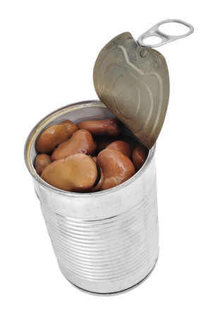 a can with cooked bread beans on a white background photo