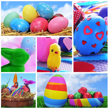 collage of different pictures of easter eggs photo