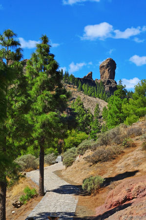 canary island: a view of Roque Nublo monolith in Gran Canaria, Spain
