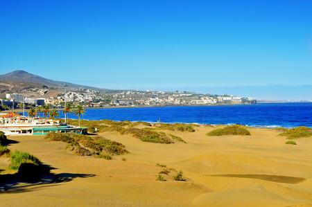 gran canaria: a view of Playa del Ingles in Maspalomas, Gran Canaria, Canary Islands, Spain Stock Photo