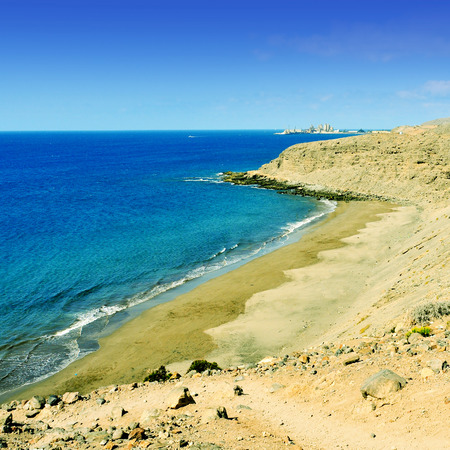 canaria: a view of Montana de Arena beach in Gran Canaria, Canary Islands, Spain Stock Photo