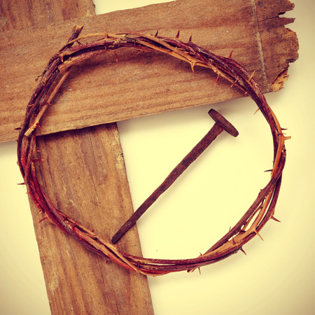 jesus cross: the Jesus Christ crown of thorns and the Holy Cross, with a retro effect