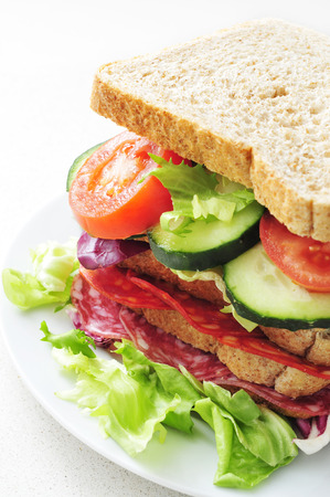 a sandwich with vegetables and spanish chorizo and salchichon, on a white background photo
