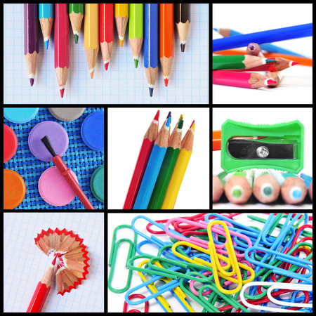 a collage of different pictures of some school supplies such as colored pencils, pencil sharpener or paper clips photo