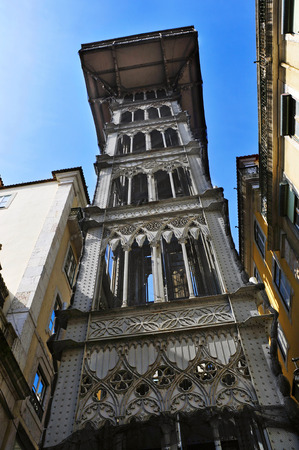 carmo: a view of historical Santa Justa Lift in Lisbon, Portugal Stock Photo