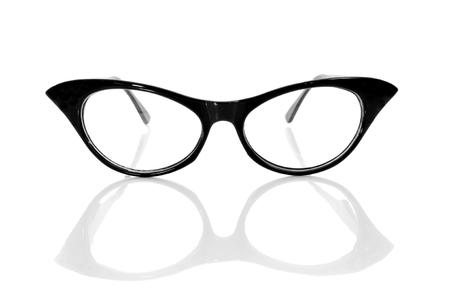 shortsightedness: closeup of a black retro-styled eyeglasses for women on a white background Stock Photo