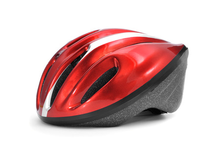 a red and black bicycle helmet on a white background photo