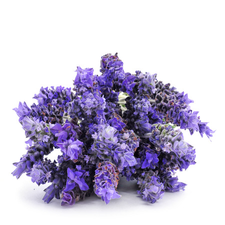 botanical remedy: a pile of lavender flowers on a white background