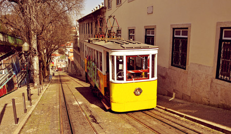 gloria: a view of the historical Gloria Funicular in Lisbon, Portugal