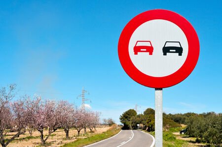 overtaking: no overtaking sign in a secondary road with almond trees in full bloom