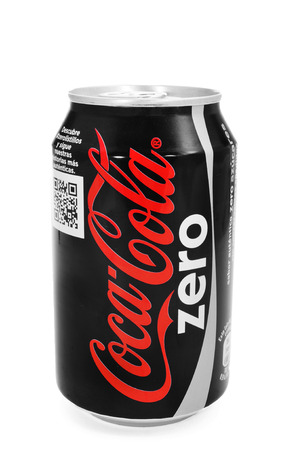 thirstiness: BARCELONA, SPAIN - MARCH 26, 2014: A can of Coca-Cola Zero on a white background