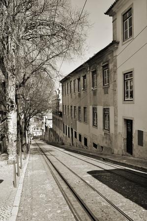 gloria: view of Calcada da Gloria, with the rails of the Gloria Funicular, in Lisbon, Portugal Stock Photo