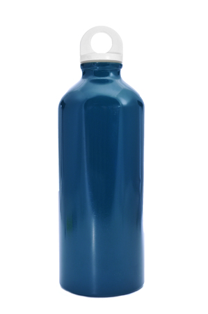 thirstiness: a blue metal water bottle on a white background
