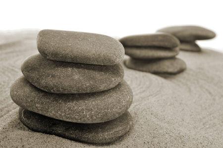 karesansui: some piles of balanced stones in a zen garden