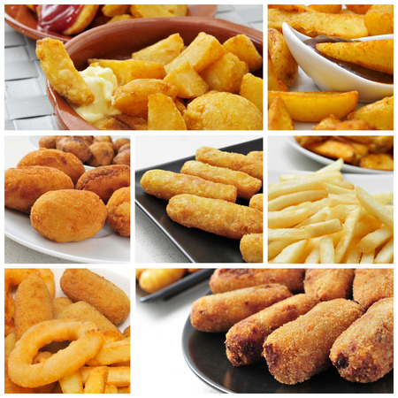 a collage of different fried food, such as french fries, croquettes or fish sticks photo