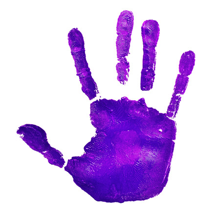 a violet handprint on a white background, depicting the idea of to stop violence against women, as violet is used by the feminist movement photo