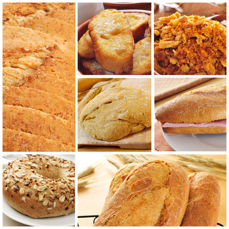 a collage of different bread products collage such as bread slices, french toasts, a bagel topped with seeds or a spanish submarine sandwich photo