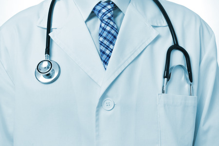 closeup of a doctor wearing a white coat and with a stethoscope photo