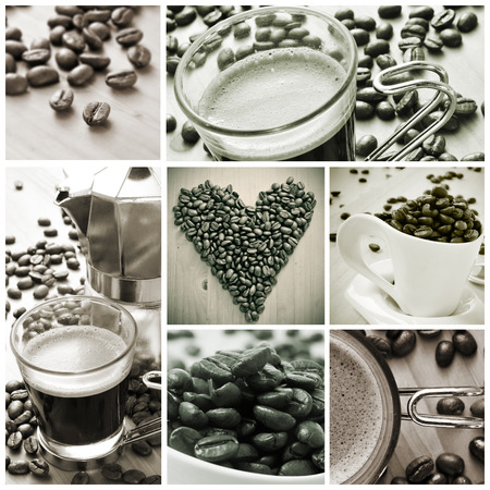 a collage of different pictures in black and white of cups of coffee and toasted coffee beans photo