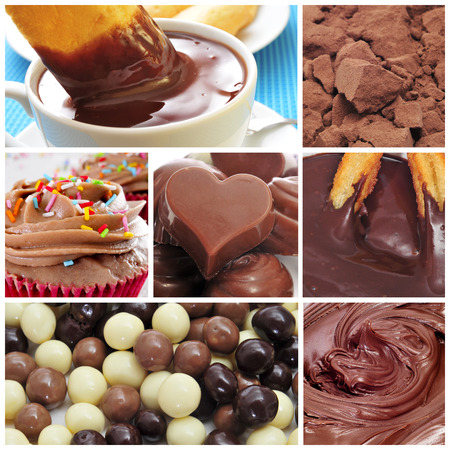 a collage of different sweet food made with cocoa, such as chocolates, hot chocolate or chocolate cupcakes photo