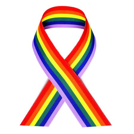 a rainbow ribbon on a white  photo
