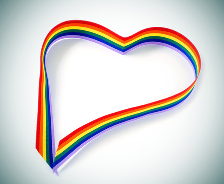 closeup of a rainbow ribbon forming a heart photo